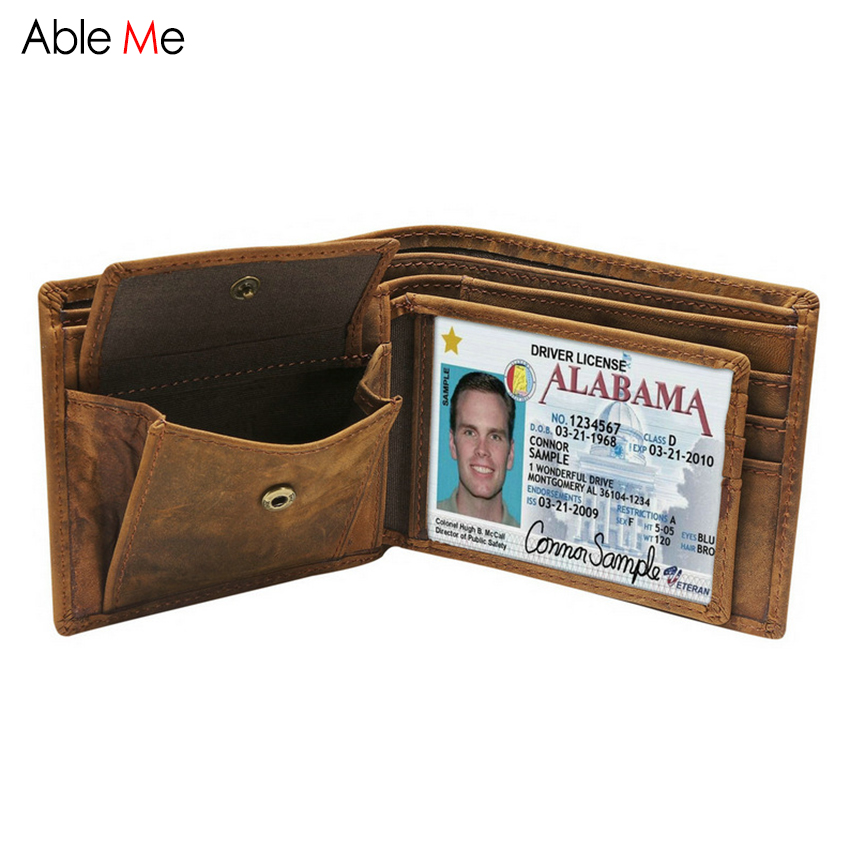 Creative driver's license Wallet Male Genuine Leather Purses Vintage coin purse Card Holder Short Wallets Men Gifts custom name vintage genuine leather wallet men fashion small brand wallet male portable men wallets short coin purse male purses casual