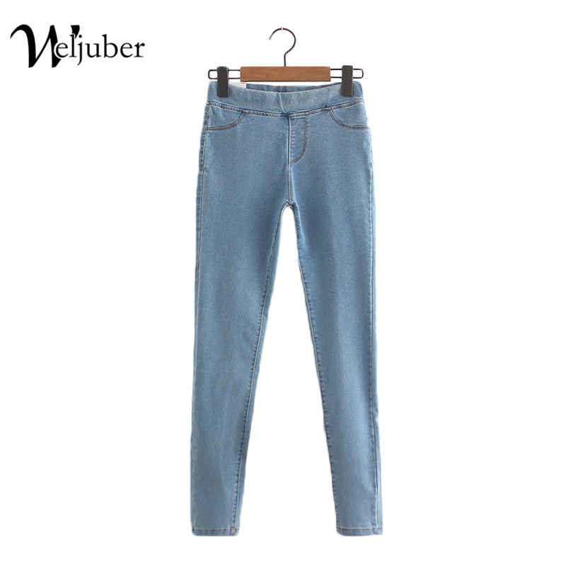Weljuber 2017 Pencil Pants Women Slim Jeans Denim Blue Women Sexy Jeggings High Elastic Wash Low Waist Trousers 2017 new jeans women spring pants high waist thin slim elastic waist pencil pants fashion denim trousers 3 color plus size