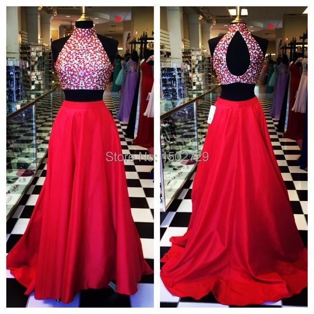 181f5b40d8 Cristal rojo de cuello alto de 2 unidades Vestidos fiesta del recorte  espere Crop Top sin