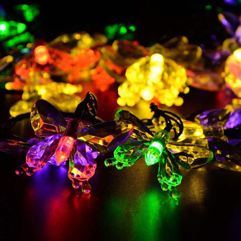 vusum Solar Lamps 5 M / 20 Led Colorful Butterfly Garland Holiday Outdoor Decoration Garden Christmas Solar Powered LED Light wi fi роутер upvel ur 825ac page 1