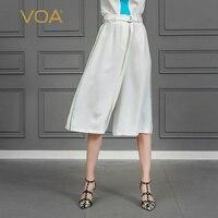 VOA тяжелый шелк широкие брюки ноги белый Подрезанные штаны Для женщин осень женские офисные Свободные Большой Размеры Palazzo Брюки ремень осн