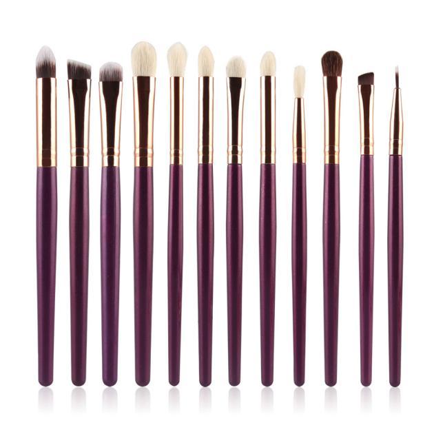 Hot Professional 12Pcs Cosmetic Brush Makeup Brush Sets Kits Tools DE31X18 beauty girl hot professional 8pcs mini cosmetic eyebrow eyeshadow brush makeup brush sets kits tools nov 3
