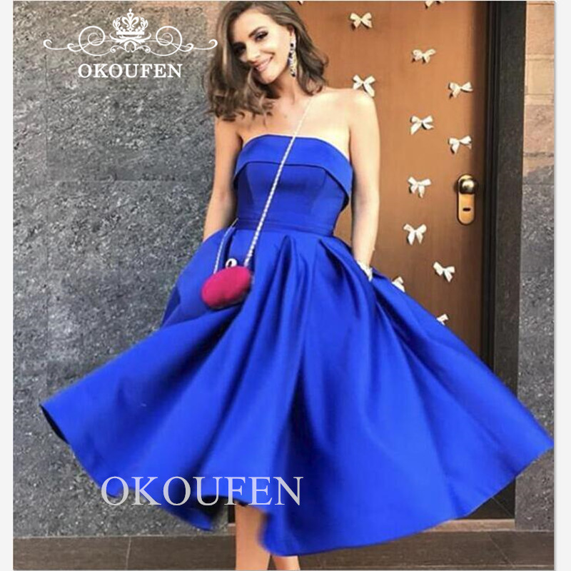Fashion Royal Blue Satin   Bridesmaid     Dresses   For Women 2019 Strapless Pleat A Line Tea Length Party   Dress   Maid Of Honor Gown