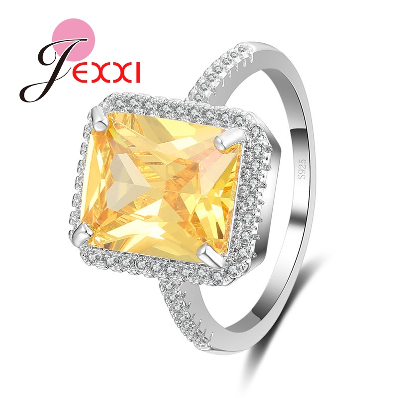 JEXXI Lovers Gift Bright Yellow CZ Stone Ring Jewelry S925 Sterling Silver Ring For Engagement Anniversary