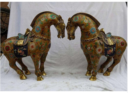 Copper Brass CHINESE crafts decoration Asian 16 China brass gild Cloisonne fine Yellow flowers Horse pair Sculpture Statue