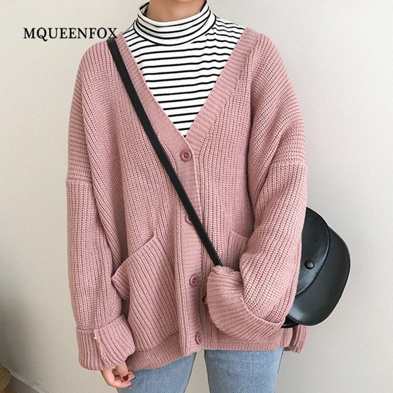 2019 New Autumn Winter Sweater Casual Women Warm Long Sweater Cardigan Female Knitted Coat Warm Autumn Gery Cardigan