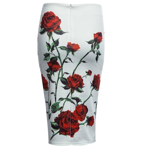 New 2017 High Waist Floral Slim Fitting Hidden Zipper Midi Skirt