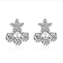 Everoyal New Fashion Lady Crystal Star Earrings For Women Accessories Charm Silver Stud Female Jewelry Lover Gift