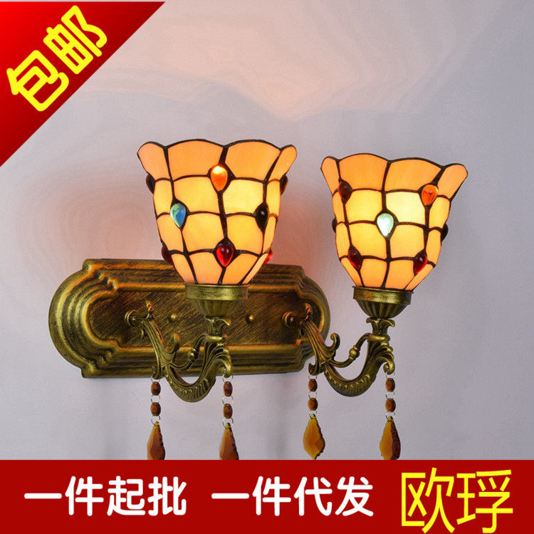 Tiffany Baroque vintage Stained Glass Iron   wall lamp indoor lighting bedside lamps wall lights for home AC 110V/220V E27Tiffany Baroque vintage Stained Glass Iron   wall lamp indoor lighting bedside lamps wall lights for home AC 110V/220V E27