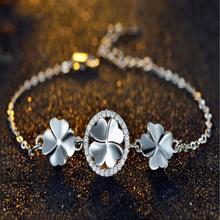 Everoyal Trendy Clover Female Bracelets Jewelry New Fashion 925 Silver Bracelet For Women Accessories Girls Birthday Gift
