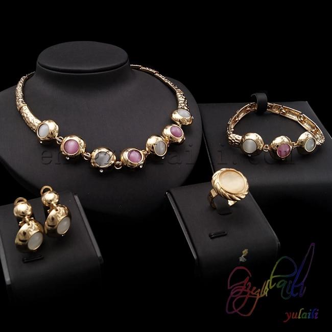 цена на Free Shipping Colours opal cat eyes bead jewelry set fashion imitation hot sell alloy jewelry set