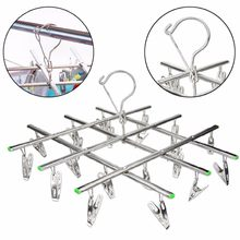 Windproof Laundry Socks Gloves Clothes Hanger Collapsible Stainless Steel Hanging Rack 20 Clothespin Drying Racks Outdoor(China)