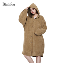 2017 Biutefou brand autumn single breasted loose corduroy hooded coats women streetwear outwear solid color long coats(China)