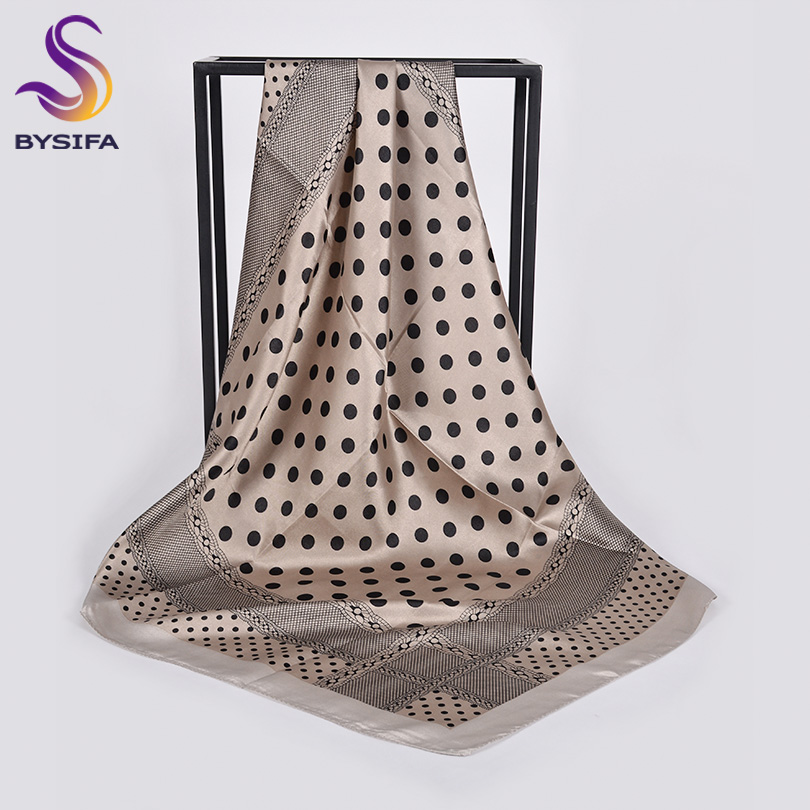 [BYSIFA] Polka Dot Square Scarves Women Classical Design Spring Fall Silk Hijab Scarf Fashion Brand Winter Neck Scarf Khaki Grey