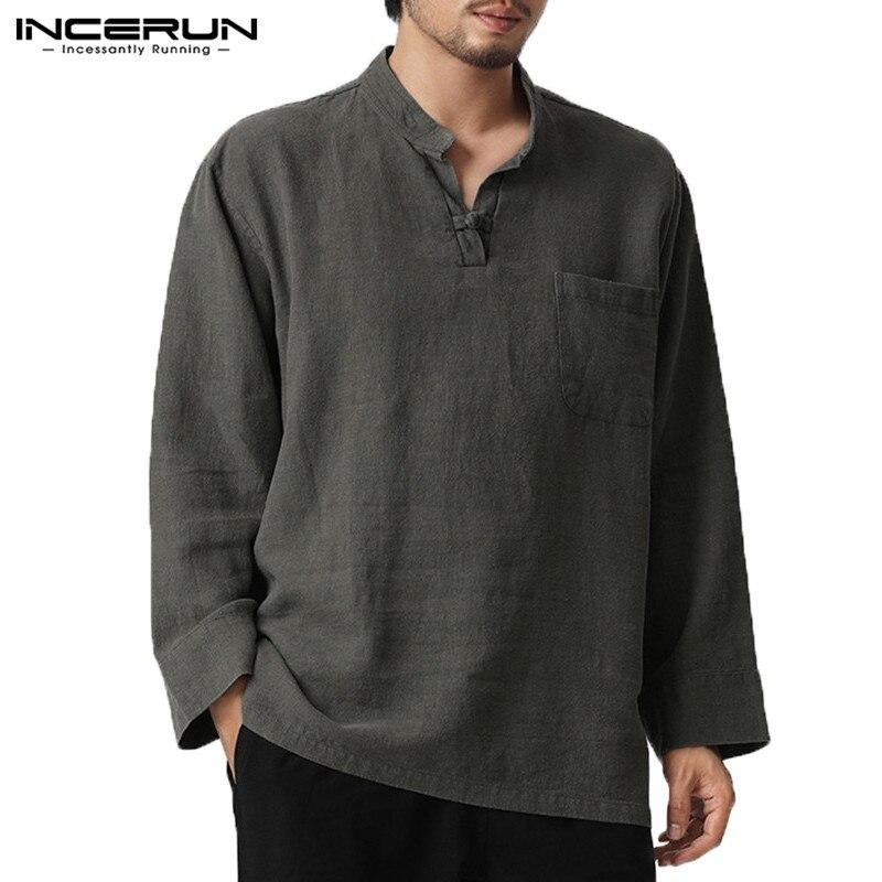 INCERUN hombres Camisas V cuello bolsillos de pecho botón llano 5XL Camisas Hombre Camisetas Camiseta para Hombre ropa