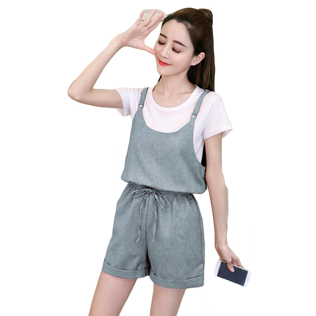 966006c0e9e US $30.95 34% OFF|Fashion Lady Sweet Casual Suit Woman 2 Pieces Sets Korean  Round Neck Short sleeved T shirt+ Jumpsuit Wide Leg Shorts for Women-in ...