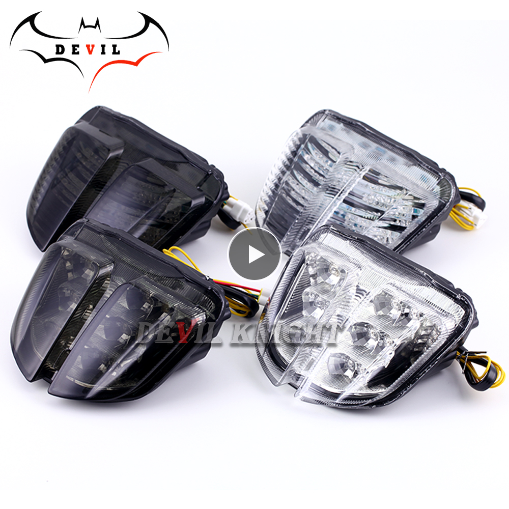 For Suzuki GSXR600 GSXR750 GSXR 600 750 2006 2007 K6 Chrome Rear Tail Light Brake Turn Signals Integrated Light Motorcycle Light