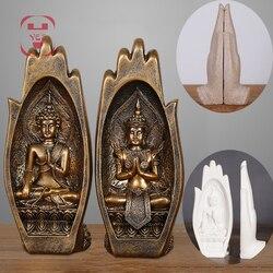 2 pçs/set Resina Buda Tathagata Estátua Estatueta Monge Índia Yoga Mandala Mãos Esculturas Casa Acessórios de Decoração Ornamentos
