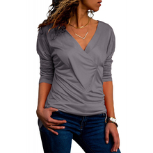2019 Long Sleeve T-Shirt Women Casual Slim Tops Tee Shirt Femme Wrinkle Sexy V-Neck Female T Shirts Office Blusas Mujer Big Size finejo 2019 long sleeve t shirt women casual tops tee shirt femme solid sexy v neck female t shirts street office blusas mujer
