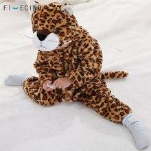 Brown Leopard Panther Kigurumi Baby Kid Children Onesie Pajama Cartoon Animal Cosplay Costume Winter Autumn Warm Soft Fancy Suit