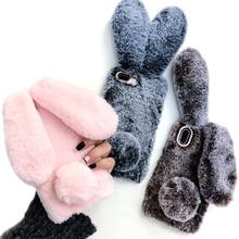 Cute Plush Bunny Ears Case Luxury Winter Soft Warm Cover Fluffy Furry Rabbit Shockproof Back Bumper  Chic Bling Crystal Diamond