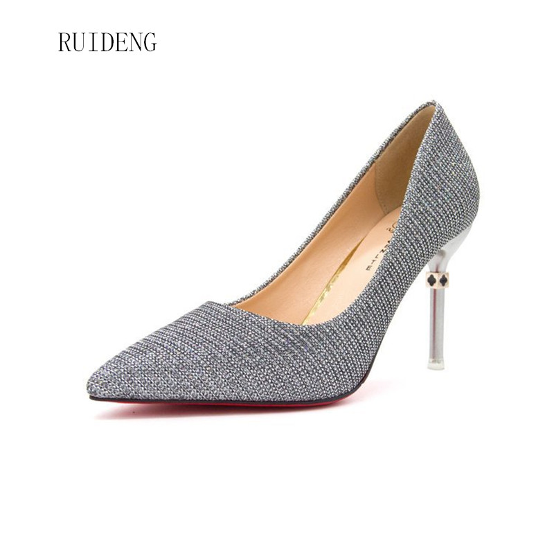 New women pumps high heels pointed toe office career lady fashion gold silver red bottom shoes party sexy wedding slip on sandal new women patent leather high heels shoes wine red gray sexy pointed toe shoe for wedding party office career pumps smybk 020