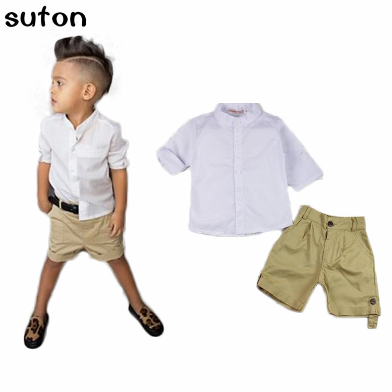 d472aa0e5 2018 Summer New Baby Boys Clothes Sets Casual White Shorted-Sleeved T-shirt+ Shorts 2pcs Suits Gentleman Fashion Children Clothes