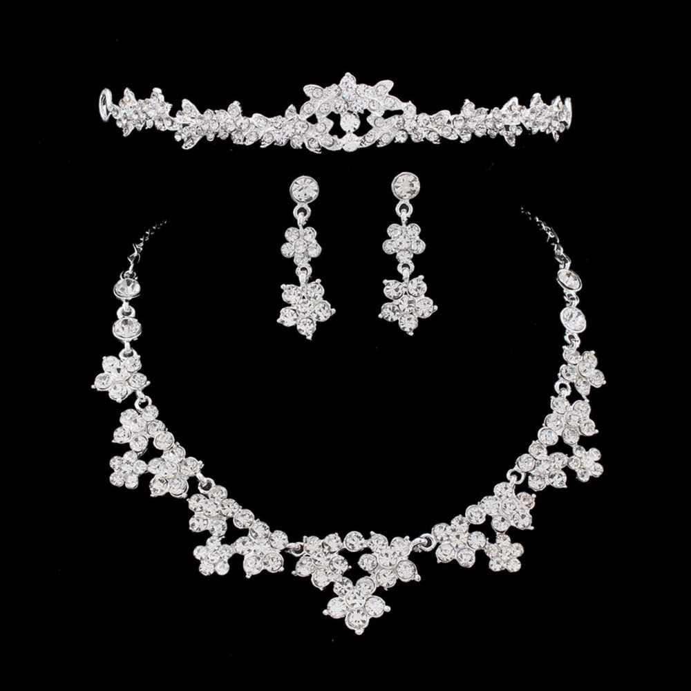 SHOSIXUAN Wedding Pearl Crown Tiara Flower Rhinestone Crystal Neckalce and Earrings Jewelry Sets for Bridal