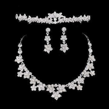 SHOSIXUAN Wedding Pearl diadem kwiat z kryształkiem kryształowy naszyjnik i kolczyki komplety biżuterii dla nowożeńców tanie i dobre opinie Zestawy biżuterii Moda necklace earrings Zestawy biżuterii dla nowożeńców Rhinestone TRENDY Ślub Ze stopu cynku SILVER