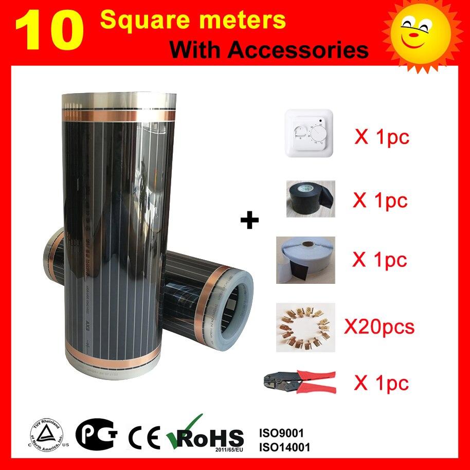 Film de chauffage infrarouge de 10 mètres carrés, film de chauffage par le sol AC220V 50 cm x 20 m, réchauffeur de pièce bon pour la santé