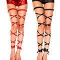 Новый Сексуальный Женщины Полые Искусственной Кожи Длинные Ноги Подвязки Клип Подвязки Готический Harajuku Стиль Гладиатор Повязки Чулок FX1012
