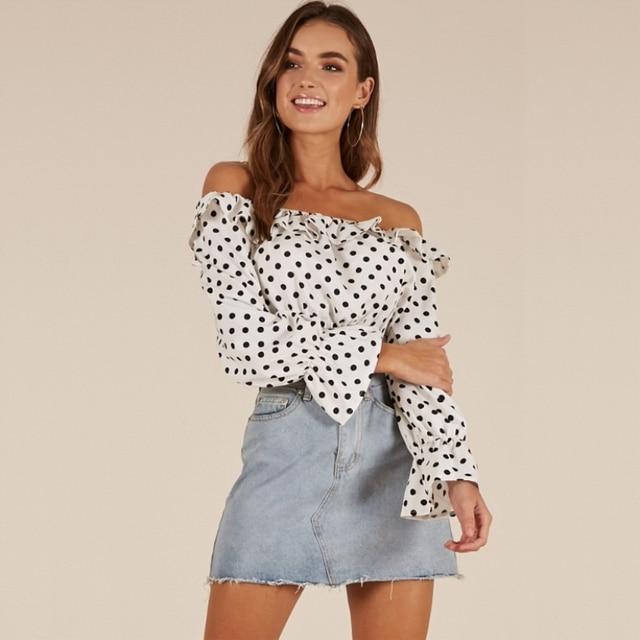 76526b71af85c8 Off Shoulder Ruffles Polka Dot Summer Crop Tops Women Long Sleeve Chiffon  Short Tops Casual Slash Neck Ladies Black White Blouse