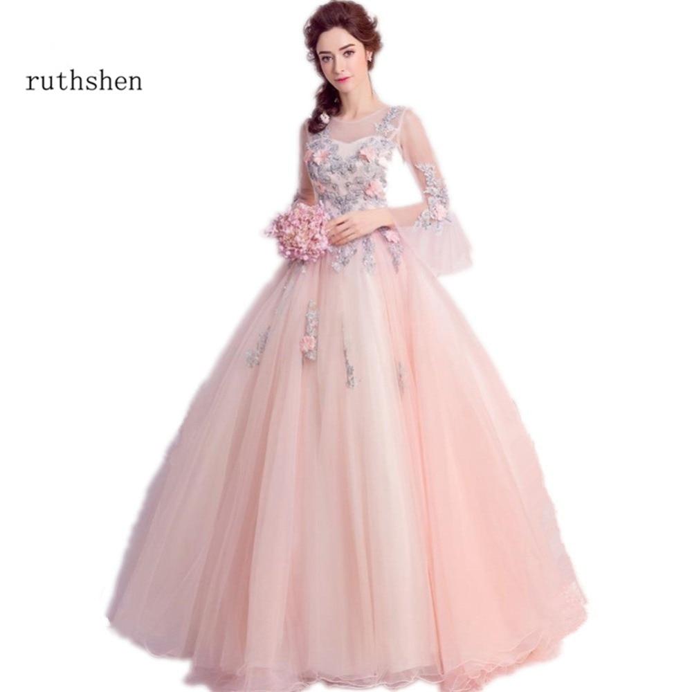 ba8bd98f2 Cheap Ruthshen vestido de quinceañera vestidos con Flowerd cuentas Debutante  adolescentes dulce 16 mascarada vestidos