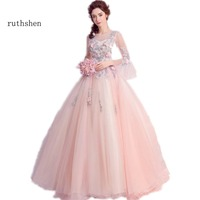 ruthshen Ball Gown Quinceanera Dresses With Flowerd Appliques Beads Debutante Teens Sweet 16 Masquerade Prom Gowns