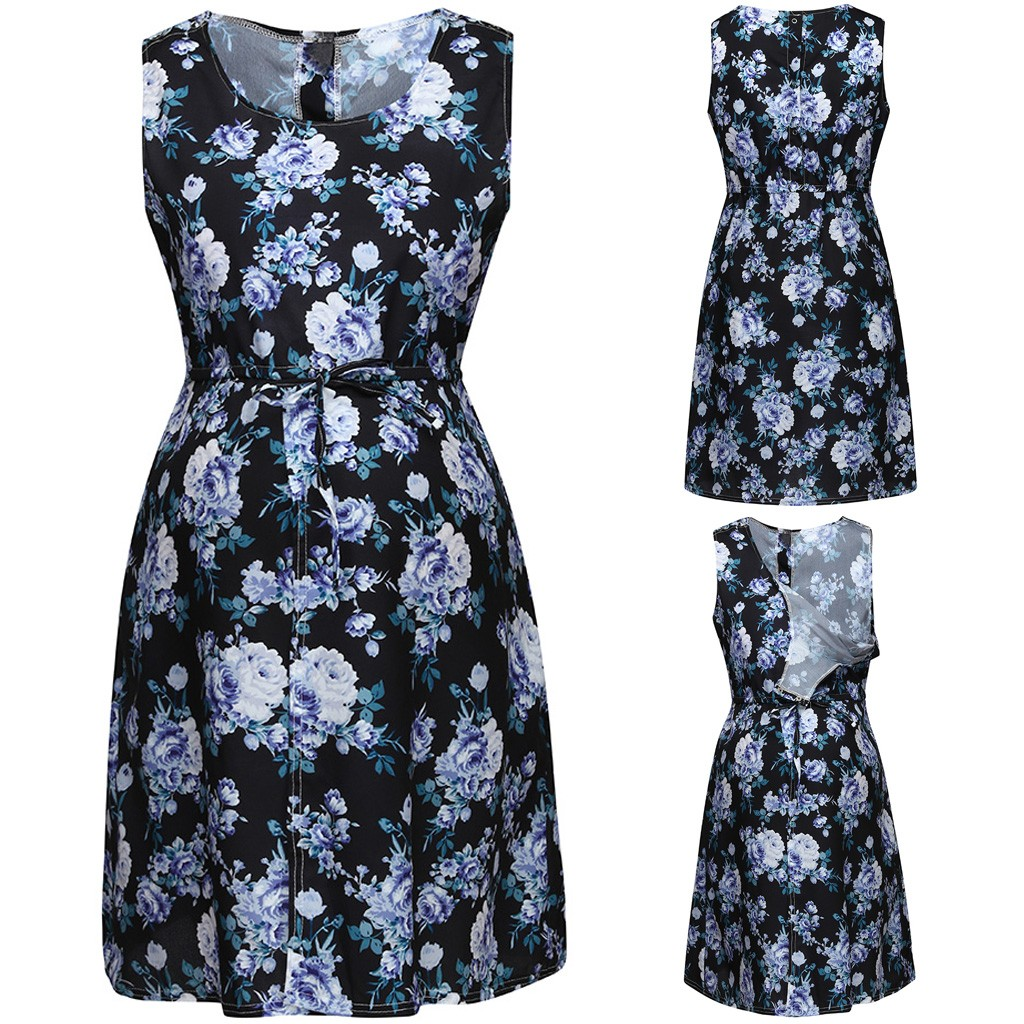 Maternity Dresses Casual Female Maternity Dresses Mother Sleeveless Floral Pregnancy Nusring Sundress Dresses For Pregnant WomanMaternity Dresses Casual Female Maternity Dresses Mother Sleeveless Floral Pregnancy Nusring Sundress Dresses For Pregnant Woman