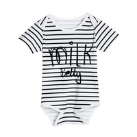 Baby Boy Girl Short Sleeve Cotton Infant Striped 2017 Newest Kids Letter Printed Romper Jumpsuit Clothes Outfits Summer 0-18M