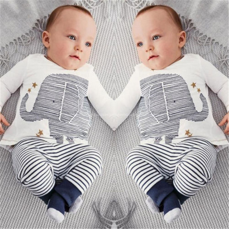 Hot sale Baby Toddler Infant Boy Lovely Elephant Tops Striped Pants Outfit Set Clothes Casual