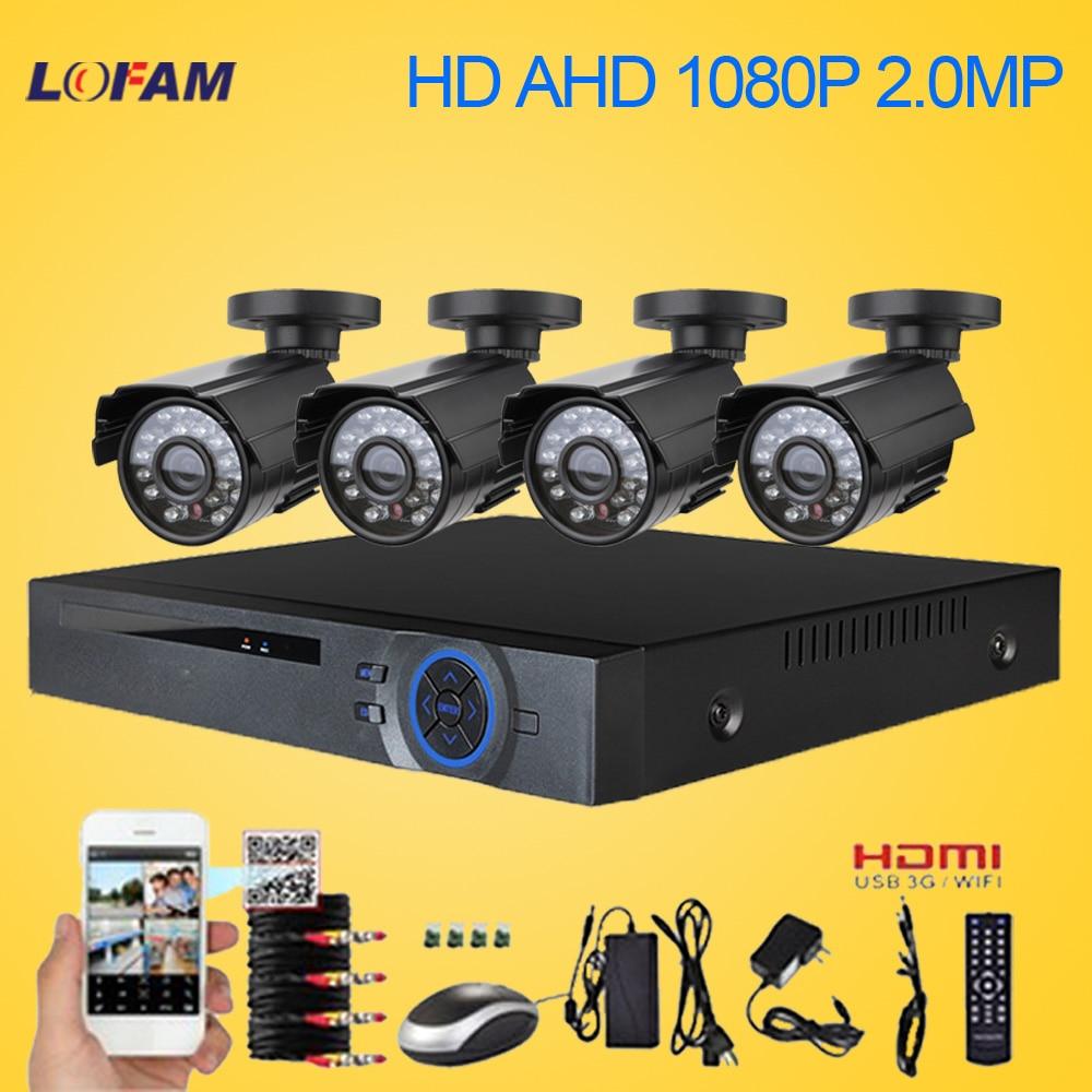bilder für LOFAM 8CH AHD 1080 P DVR HDMI NVR CCTV Home Security kamera System 4 STÜCKE IR Im Freien wasserdichte 2MP 2500TVL Videoüberwachung kit