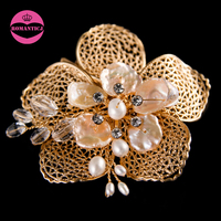 LUOSU Newest Headpieces Nature Shell Freshwater Pearl Jewelry Crystal Gold Color Bridal Hair Combs For Women