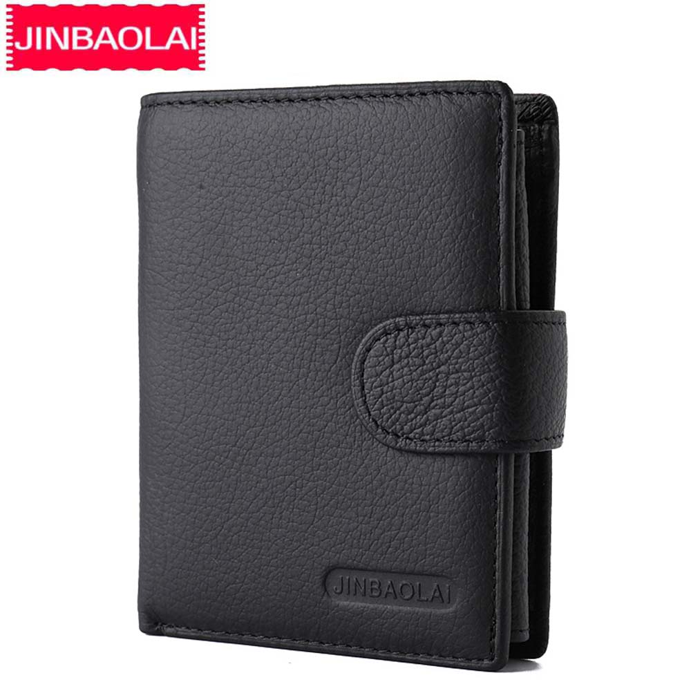 JINBAOLAI Men Wallets Genuine Leather Hasp Coin Pocket Purses Card Holder Vintage Short Brand High Quality Wallets For Male