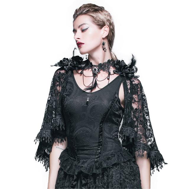 Gothic steampunk mujeres punk mantón largo mangas de la chaqueta de encaje negro t-shirt de moda sexy con cuello en v clothing camisetas con chaleco