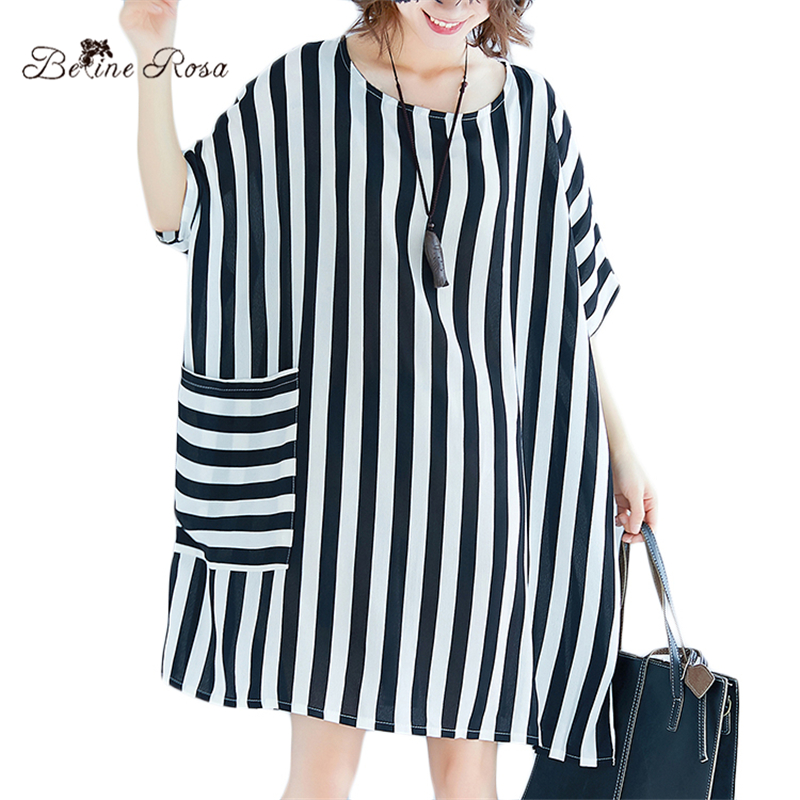 BelineRosa Plus Size Women Clothing Striped Oversized Tunic European Style Casual Shirt Dress female 3XL 4XL 5XL 6XL 72B00011