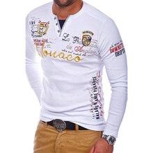 Zogaa 2018 camisa polo masculina casual algodão carta impressão t camisa de manga longa para homens fashions topos qualidade polos sólidos camisas