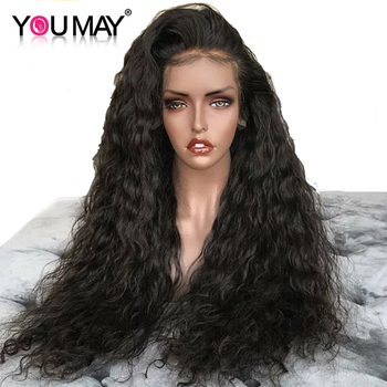 250 Density Water Wave Lace Front Human Hair Wigs For Women Glueless 13X6 Brazilian Lace Frontal Wigs Pre Plucked  You May Remy