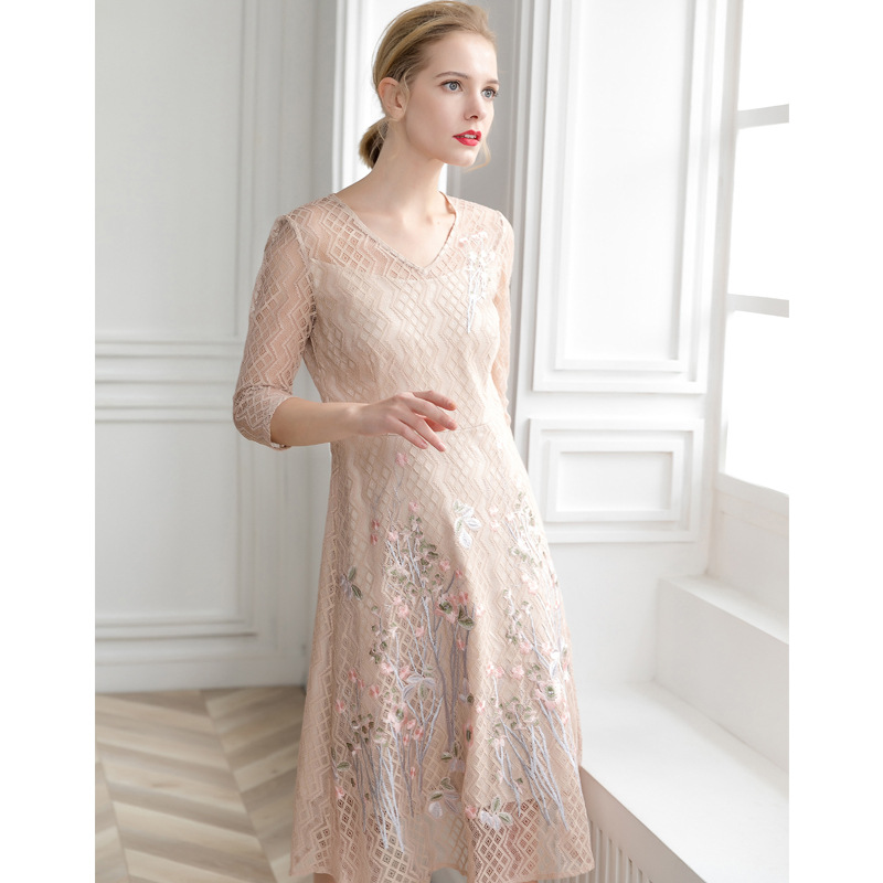 PIXY Embroidery Elegant Midi Dress Women Summer Office Dresses Ladies Vestidos Omighty High Quality V Neck Print Clothing Beige in Dresses from Women 39 s Clothing