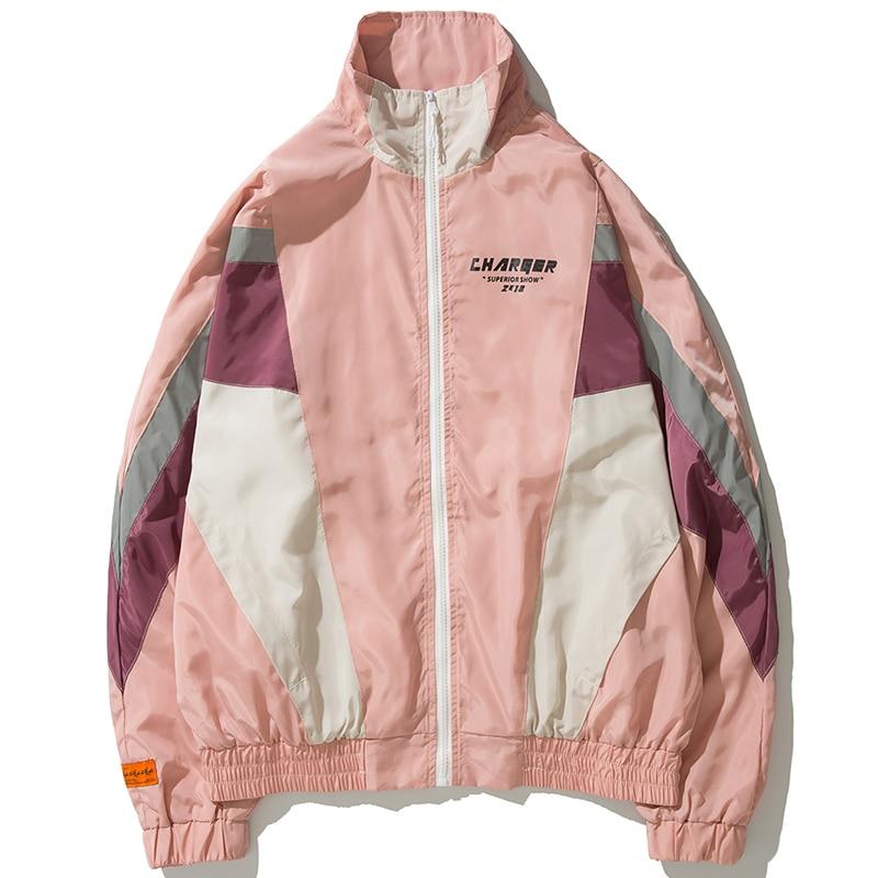2019 Vintage Color Block Windbreaker Men Oversized Jackets Hip Hop Couples Patchwork Thin Night Reflective Stripes Track Jacket