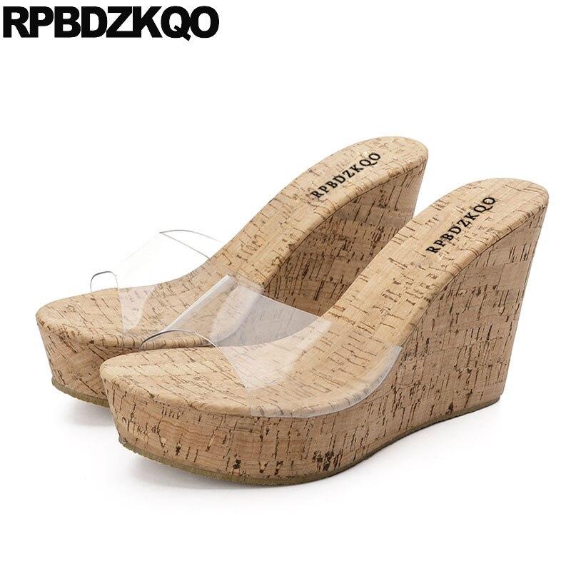 2018 Cuña Mujeres 10 Pvc Tacón Zapatos Fetiche Diseño Diapositivas qxqwB8Sf