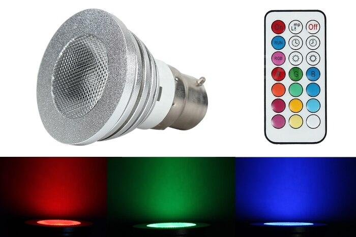 Unique LED control New 5W 100-240V B22 LED RGB Color Light Bulb Lamp+Remote Control  high efficiency portable remote rgb control waterproof 100% plastic led night light