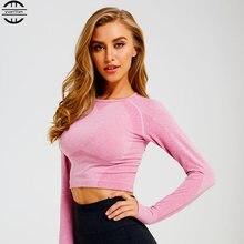 Женская бесшовная рубашка с длинным рукавом спортивный топ женские