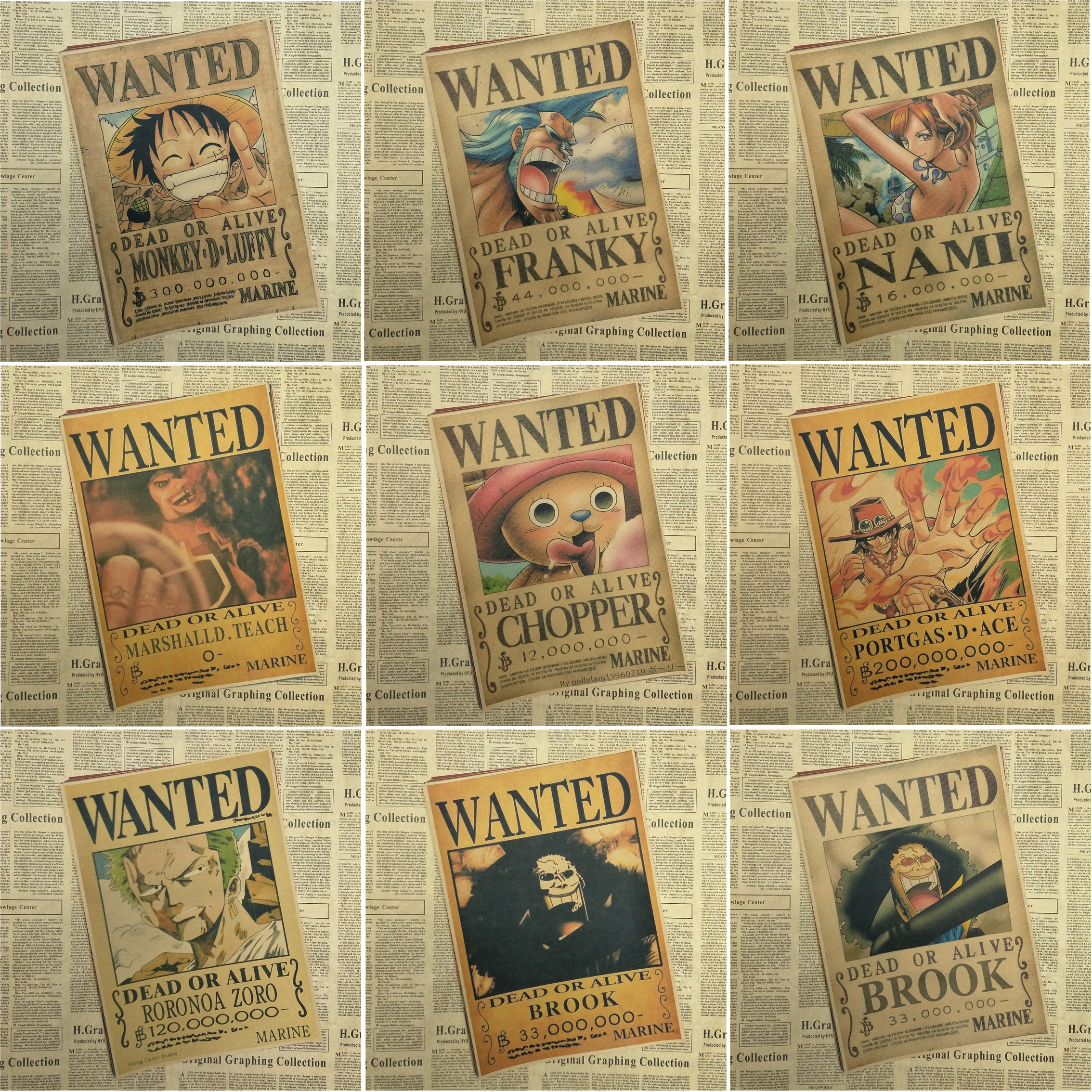 One Piece wanted posters Vintage Retro Matte Kraft Paper Antique Poster Wall Sticker font b Home